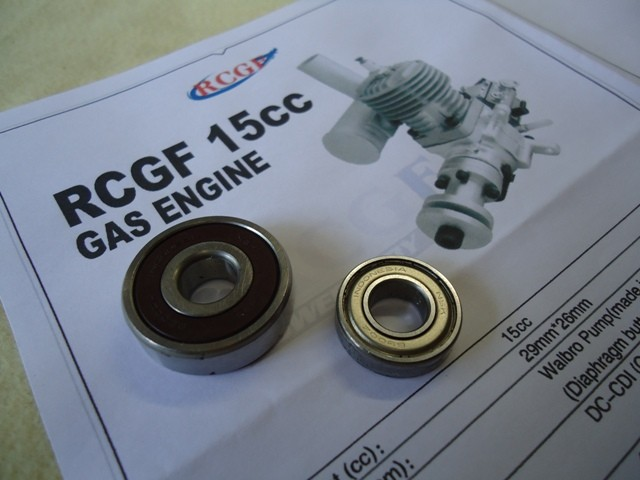 Replacement Bearings for RCGF 15CC Engine (7-1512+1525)  Cod.RCGF101